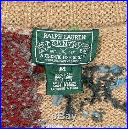 Vintage Ralph Lauren Country Heavy Knit Wool Patchwork Cardigan SweaterMedium