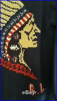Vintage Ralph Lauren Country Indian Head sweater, size M, blue, roll neck