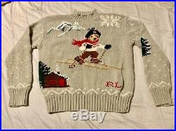 Vintage Ralph Lauren Polo Sport Gray Cabin Ski Bear Hand Knit Sweater Medium