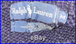 Vtg 1990s Polo Ralph Lauren Mens Duck Hunting Scene Wool Sweater Hand Knit M