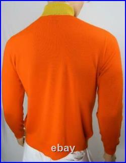 Vtg 60s Damon Italy AtOMiC MOD BeAtNiK Orange Chartreuse Stripe Knit Sweater 42