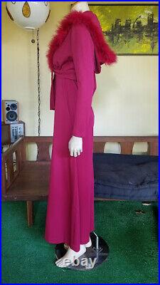 Vtg 70s Disco Pimp Bell Bottom Jumpsuit with Cropped Ostrich Trim Hooded Sweater M