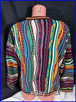 Vtg Coogi Sweater Sz Medium Multicolor 3D Cosby Biggie Smalls