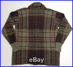 Vtg Polo Ralph Lauren Alpaca Glen Plaids Ranch Barn Shawl Knit Sweater Cardigan