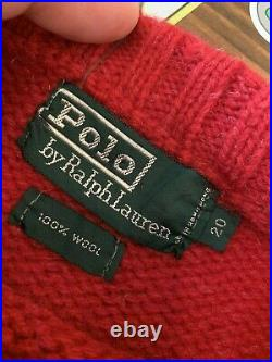 Vtg Polo Ralph Lauren Hand Knit Sweater Wool Hockey Player Size 20 MEDIUM