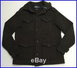 Vtg Polo Ralph Lauren Men 100% Wool Military Army Knit Sweater Cardigan Jacket