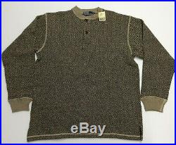 Vtg Polo Ralph Lauren Men Wool Tweed Herringbone Henley Knit Sweater Pullover M