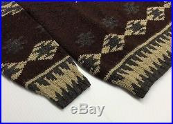 Vtg Polo Ralph Lauren Wool Southwestern Aztec Tribal Indian Shawl Knit Sweater M