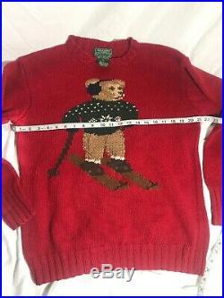 Vtg Polo Ski Teddy Bear Sweater Red Knit Sz Med Ralph Lauren Country Rare