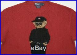 Vtg Ralph Lauren Bear Knit Sweater Hand Knit Red 92 93 Stadium Pwing Country M/L