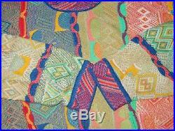 WILD Vtg COOGI Textured Neon Accents COLORFUL Mercerized Cotton Sweater M Medium